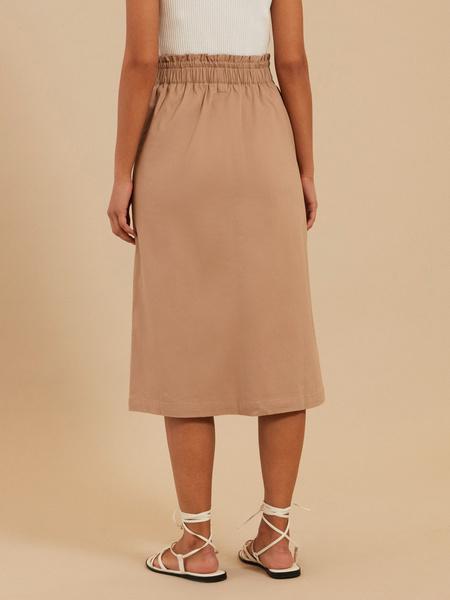 Хлопковая юбка-миди с разрезом - фото 3