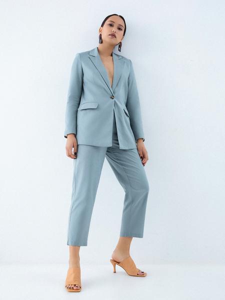 Прямые брюки из льна и хлопка - фото 1