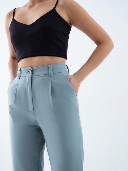 Прямые брюки из льна и хлопка - фото 3