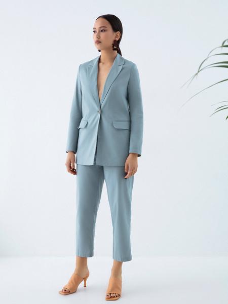 Прямые брюки из льна и хлопка - фото 5