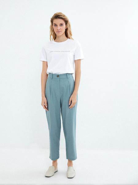 Прямые брюки из льна и хлопка - фото 6