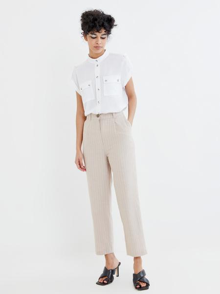 Прямые брюки из льна и хлопка