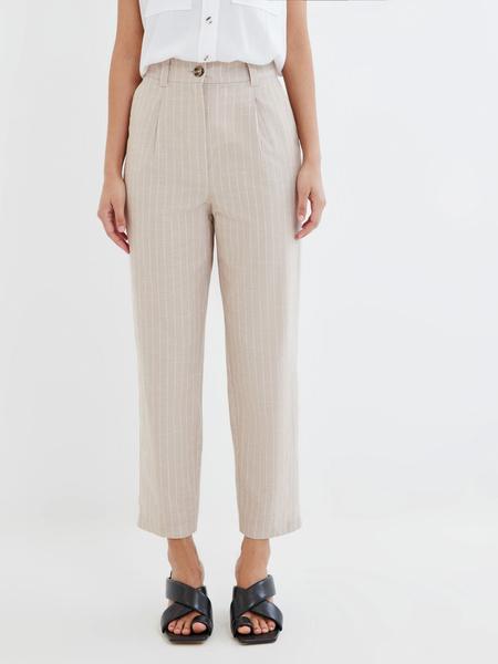 Прямые брюки из льна и хлопка - фото 2
