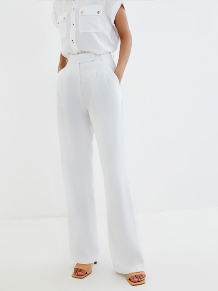Широкие белые брюки - фото 1