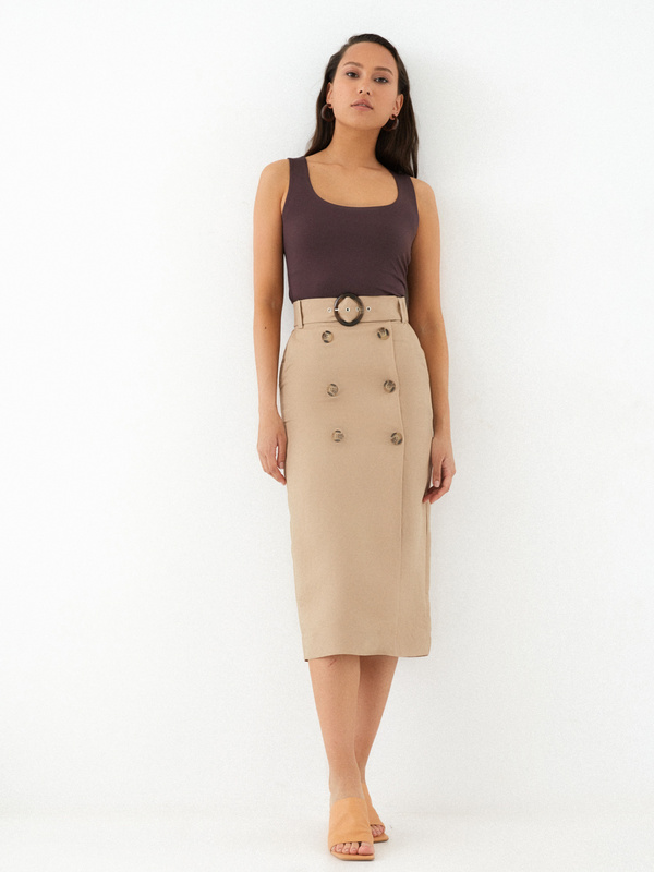 Прямая юбка на пуговицах