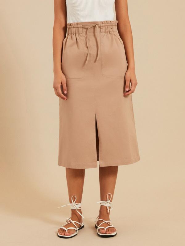 Хлопковая юбка-миди с разрезом