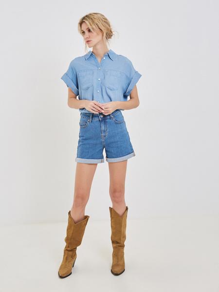 Джинсовые шорты с подворотами - фото 5