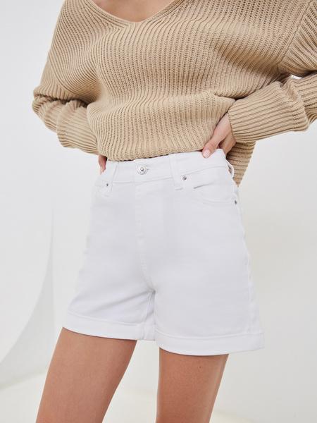 Джинсовые шорты с подворотами - фото 2