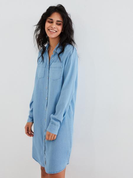 Джинсовое платье-рубашка - фото 1