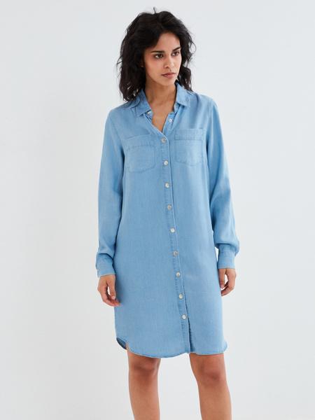 Джинсовое платье-рубашка - фото 3