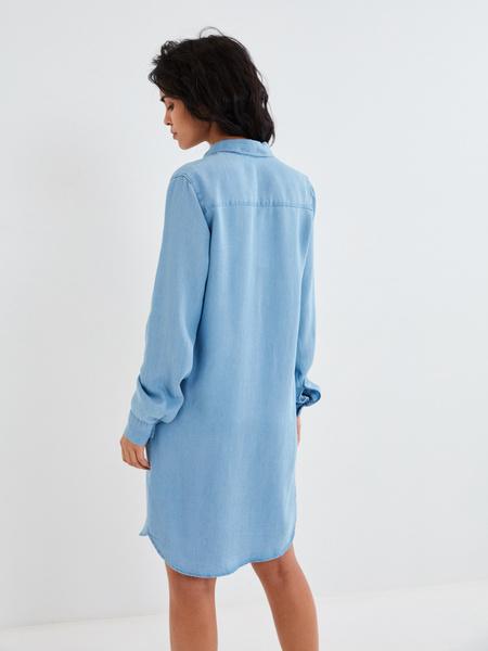 Джинсовое платье-рубашка - фото 4