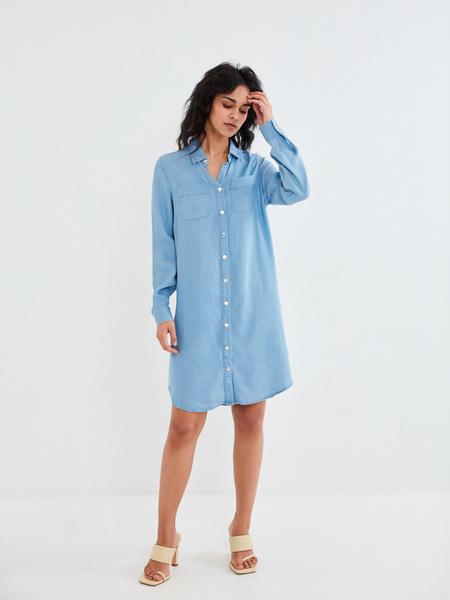 Джинсовое платье-рубашка - фото 5