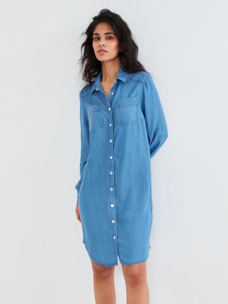Джинсовое платье-рубашка - фото 2