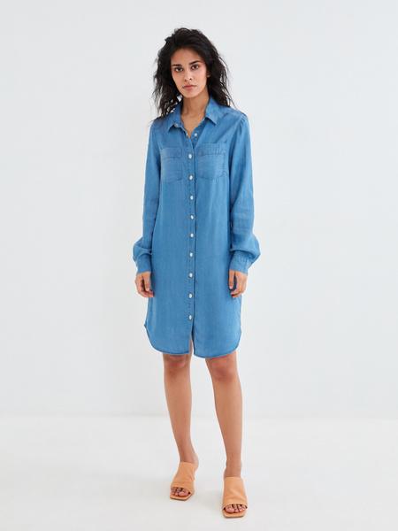Джинсовое платье-рубашка - фото 6
