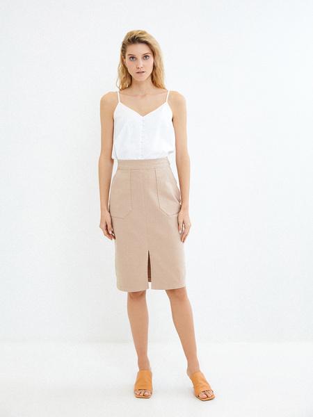 Хлопковая юбка с карманами - фото 1