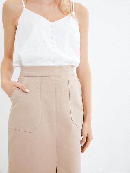 Хлопковая юбка с карманами - фото 3