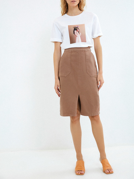 Хлопковая юбка с карманами - фото 2