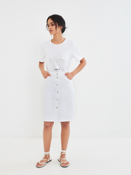 Джинсовая юбка-карандаш