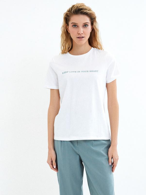 Хлопковая футболка с надписью - фото 1