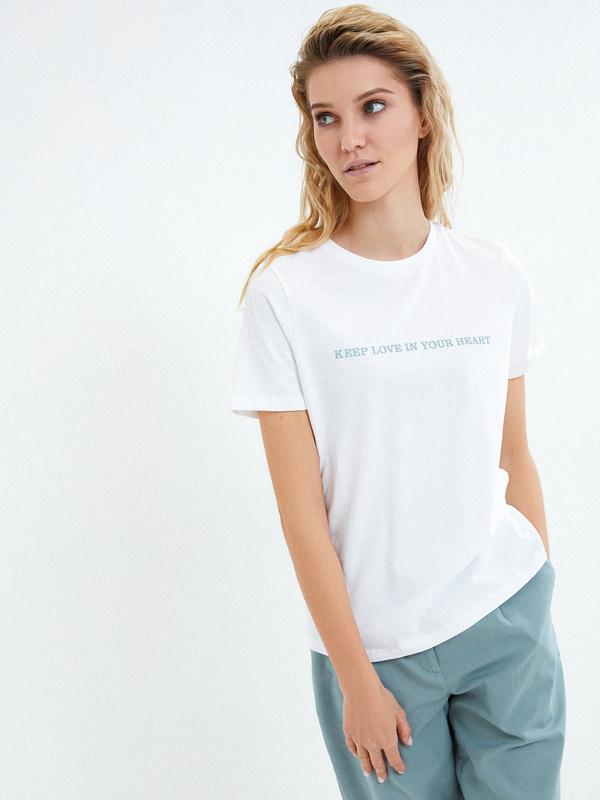 Хлопковая футболка с надписью - фото 3