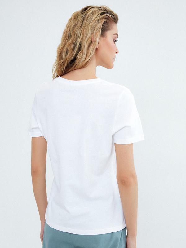 Хлопковая футболка с надписью - фото 4