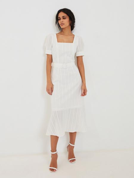 Платье-миди с воланом по низу