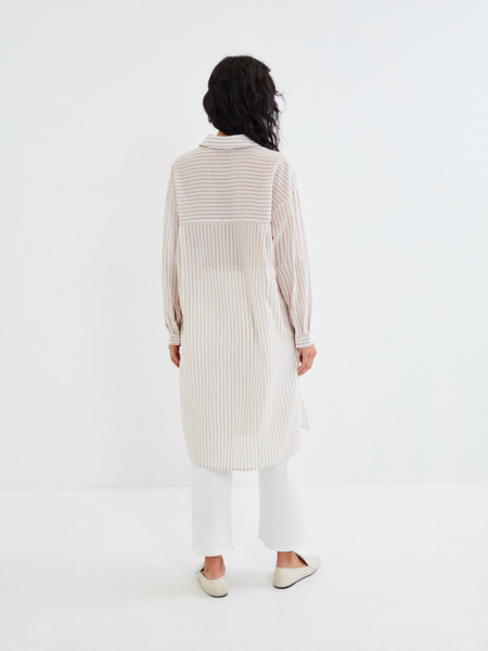 Удлиненная блузка из хлопка и льна - фото 6