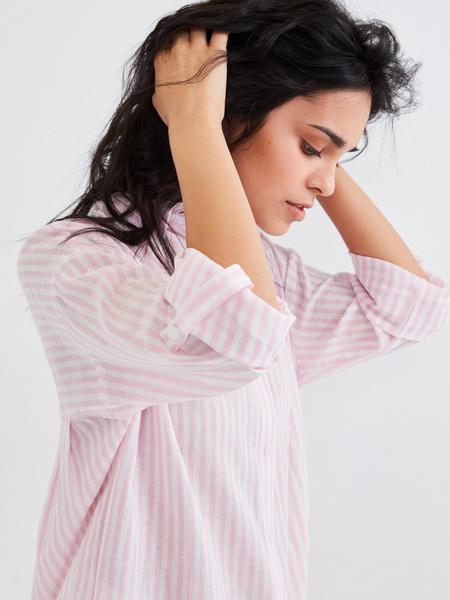 Удлиненная блузка из хлопка и льна - фото 5
