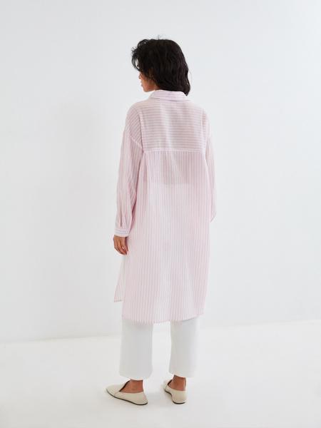 Удлиненная блузка из хлопка и льна - фото 7
