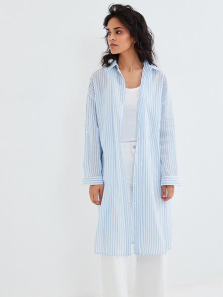 Удлиненная блузка из хлопка и льна