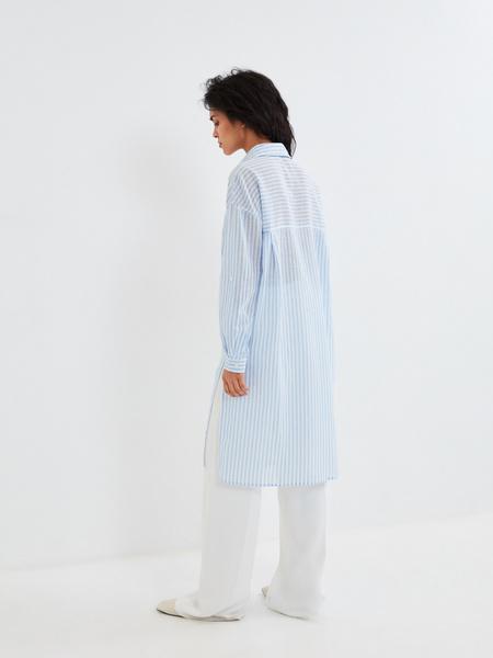 Удлиненная блузка из хлопка и льна - фото 4