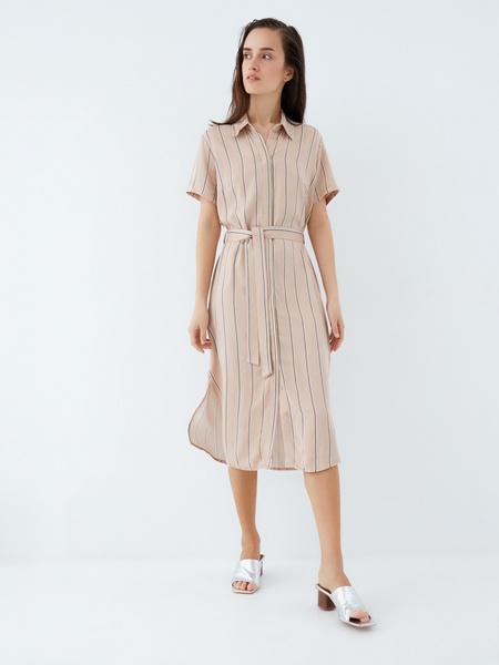Платье-рубашка на поясе - фото 2