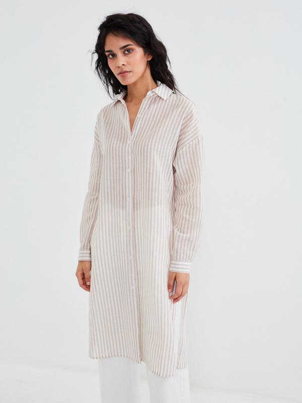 Удлиненная полосатая блузка