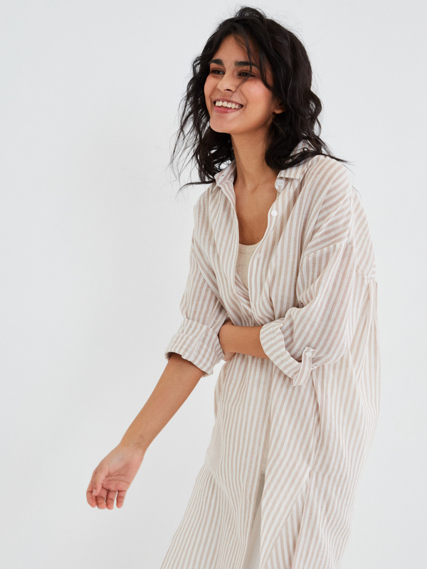 Удлиненная блузка из хлопка и льна - фото 9