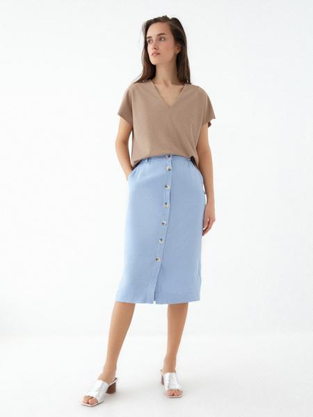 Прямая юбка с пуговицами - фото 1