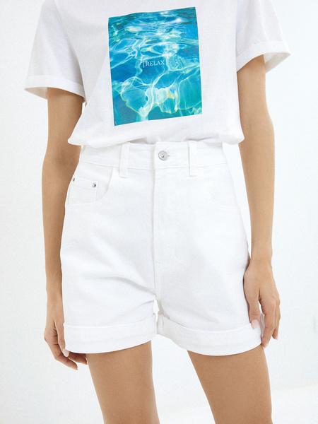 Джинсовые шорты с подворотами - фото 3