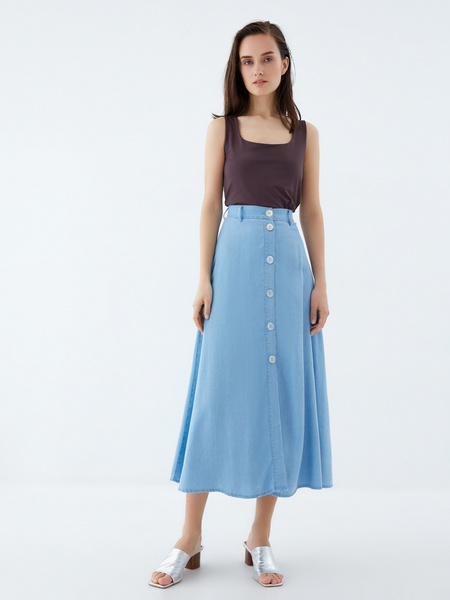 Джинсовая юбка-миди - фото 1