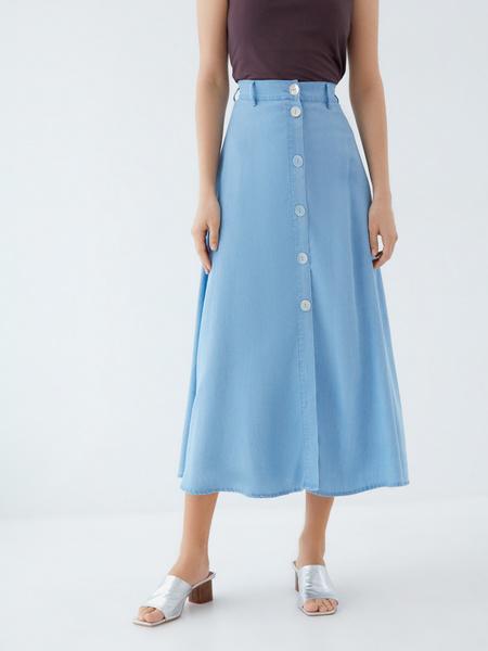 Джинсовая юбка-миди - фото 2