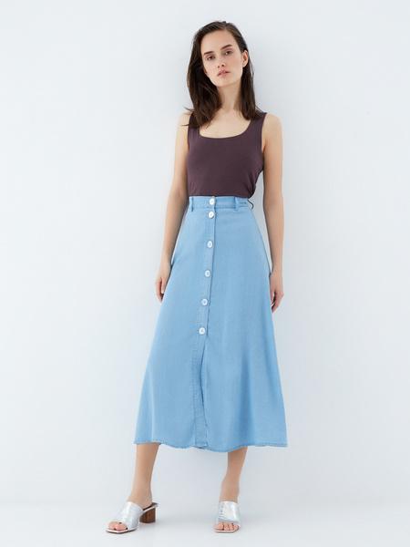 Джинсовая юбка-миди - фото 4
