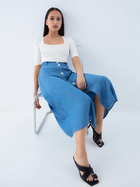Джинсовая юбка-миди - фото 7