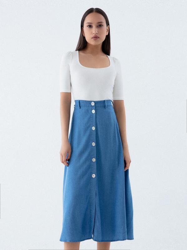 Джинсовая юбка-миди