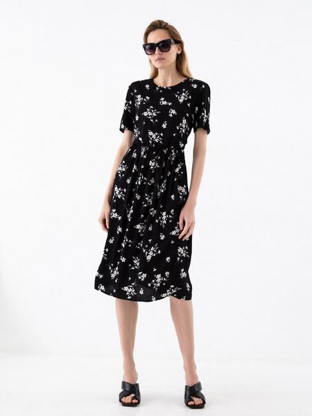 Платье с резинкой на поясе - фото 6