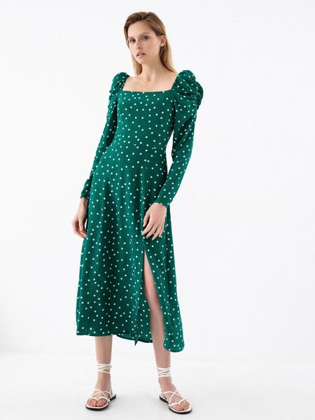 Платье с рукавами-фонариками - фото 7