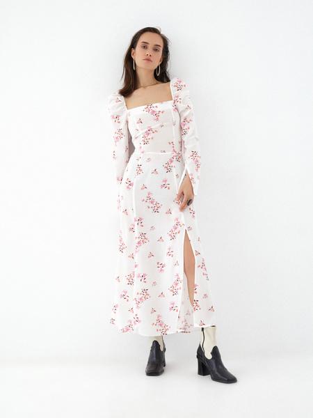 Платье с рукавами-фонариками - фото 1