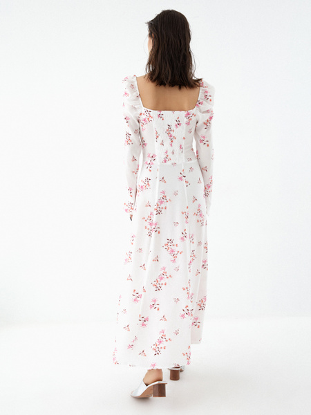 Платье с рукавами-фонариками - фото 6