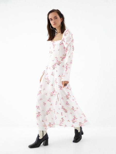 Платье с рукавами-фонариками - фото 9