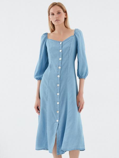Джинсовое платье с 3/4 - фото 1