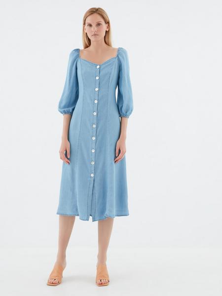 Джинсовое платье с 3/4 - фото 4