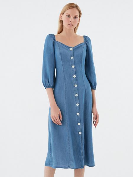 Джинсовое платье с 3/4 - фото 2