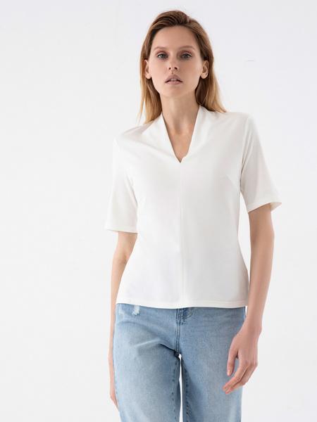 Блузка с V-образным вырезом - фото 5